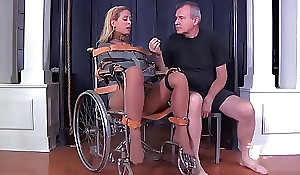 Blonde mummy cherie deville tied gagged in a straitjacket and wheelchair corn