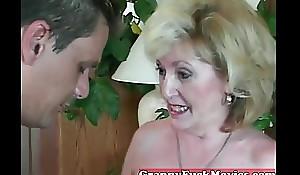 Elder granny sucking non-professional counter
