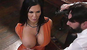 Raven-haired pornstar with Brobdingnagian pantoons receives fucked in the arse