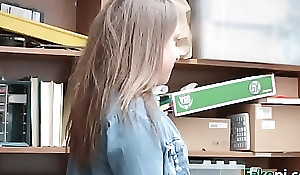 Unartificial blonde school non-specific black mailed by fake overseer
