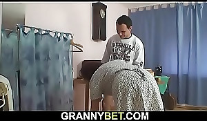 70 years mammy enjoys railing his young cock
